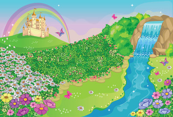 Fairytale background with flower meadow, castle, rainbow, beautiful waterfall and river. Wonderland. Cartoon illustration for children. Vector.