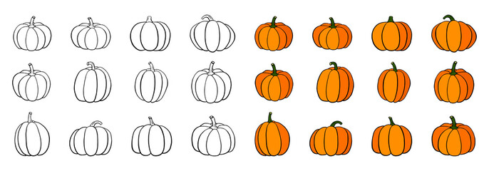 Set of doodle pumpkins, line contour isolated on white background; Hand drawn outline squash sketch for Halloween; Thanksgiving Day symbol collection farm harvest; Vector illustration; Flat icons pack