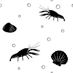 Seamless pattern with crawfish and shell isolated on white background; Monochrome sea objects; Vector endless background with black silhouettes of crayfish for fabric print, texture and wrapping paper