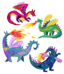 Collection of fire breathing dragons isolated on white. Childish cartoon naive style. Flying dragon medieval reptiles set.