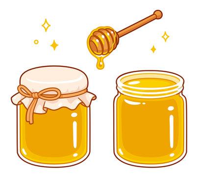 Cartoon honey jar set