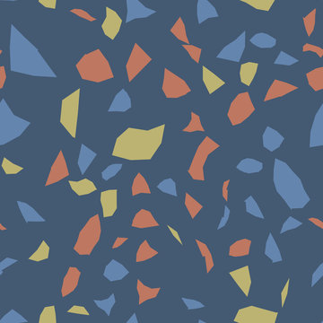 Terrazzo geometric texture. Seamless pattern with colorful splinters. Creative illustration for textile or book covers, manufacturing, wallpapers, print, gift wrap, flooring