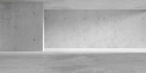 Abstract empty, modern concrete room with indirect lighting from side wall - industrial interior background template, 3D illustration Fotomurales