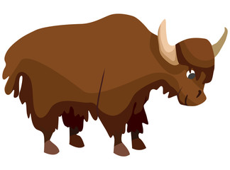 Cartoon yak flat illustration