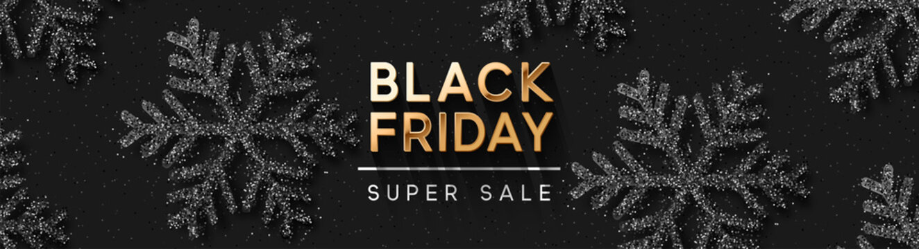 Black Friday Super Sale. Pattern with Shining silver Snowflakes. Dark background golden text lettering. Horizontal banner, poster, header website. vector illustration