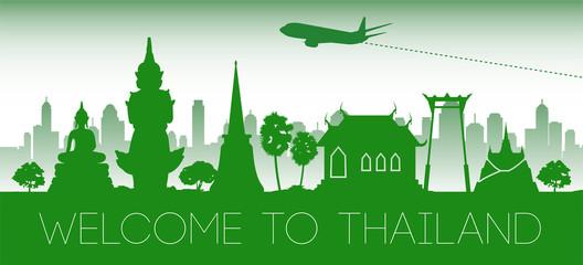 Deurstickers Thailand famous landmark green silhouette design