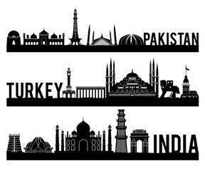 Pakistan Turkey India famous landmark silhouette style with black and white classic color design include by country name