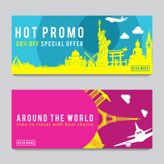 Bright and colorful promotion banner with pink and blue color for World travel,silhouette art design