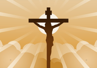 Christian cross with Jesus Christ with light and cloud backward mean begin of hope,belief and faith