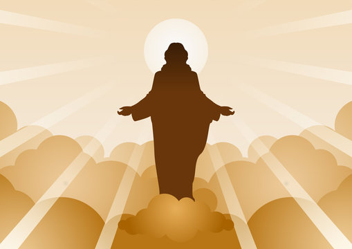 Jesus Christ with light and cloud backward mean begin of hope,belief and faith