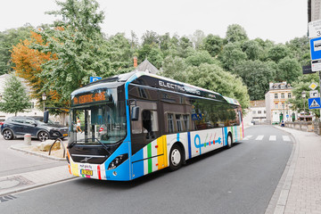 1 August 2019, Luxembourg: Comfortable electric hybrid public transport bus rides on the streets of Luxembourg city