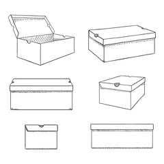 Vector Set of Sketch Shoe Boxes Illustration