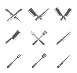 Set of bbq and grill tools isolated on white background. Design elements for menu, poster, emblem, sign. Vector monochrome illustration