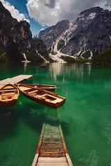 The landscape around Lake Braies or Pragser Wildsee, Italy