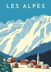 Alps travel retro poster, vintage banner. Mountain village of Austria, winter landscape of Switzerland. Flat vector illustration.
