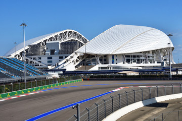 """Sochi, Russia, August, 10, 2019. Olympic stadium """"Fisht"""" in Sochi (Adler) in August in Sunny weather"""