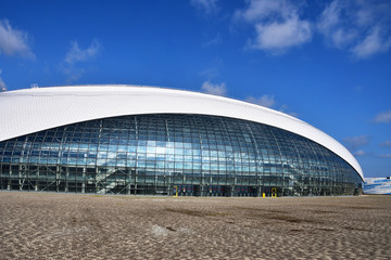 Sochi, Russia, August, 10, 2019. Nobody, Bolshoi ice Palace for ice hockey in Olimpic park in summer in Sochi (Adler)