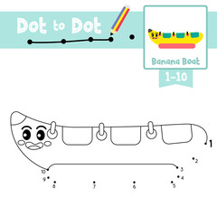 Dot to dot educational game and Coloring book Banana Boat cartoon character side view vector illustration