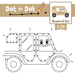 Dot to dot educational game and Coloring book Armored Car cartoon character side view vector illustration