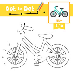 Dot to dot educational game and Coloring book Bike cartoon character side view vector illustration