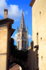 bell tower of the medieval city of Saint Emilion, in the Gironde department, in New Aquitaine in southwestern France