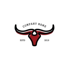 Simple Buffalo logo vector icon. bull fight bison with mountain on head face. Silhouette shadow art classic modern look. For cool shirt cloth apparel graphic, game, smart phone app, brand. Quiet, calm