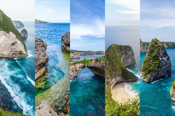 Travel destinations on Bali: collage of most popular must see places of Nusa Penida island Indonesia. Concept of tropical holidays. Can be used for brochures and cards. Tourism nature landscape Asia Wall mural