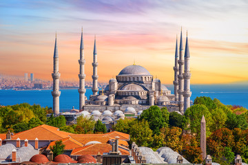 In de dag Oude gebouw Sultan Ahmed Mosque or the Blue Mosque in Istanbul, one of the most famous Turkish sights