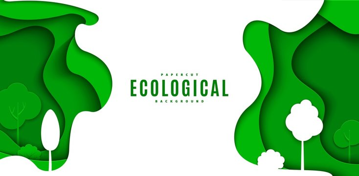 Abstract green flyer in cut paper style. Cutout white trees grass wave template for save the Earth posters, ecology brochures, presentations, ienvironmental Protection .Vector horizontal illustration