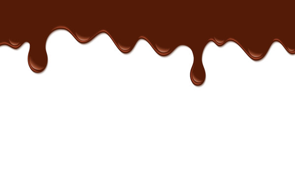 Paint drips. Drops flowing. Current chocolate or brown liquid.