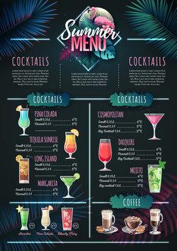 Summer menu design with flamingo and tropic leaves. Restaurant menu