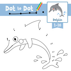 Dot to dot game and Coloring book of Dolphin animals cartoon for preschool kids activity about learning counting number 1-10 and handwriting practice worksheet. Vector Illustrati