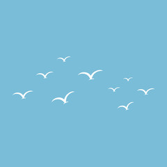 blue seamless pattern with birds.