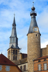 Bell tower of the Sainte Croix church and clock tower of the city of Saint Pourçain sur Sioule, in the department of Allier, in the Auvergne region, in central France