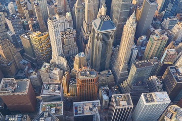 Aerial top down view on lower Manhattan financial district skyscrapers in New York