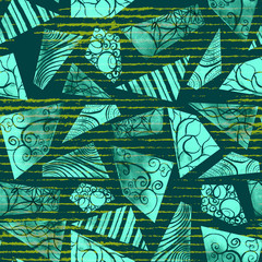 Hand-painted mint doodle watercolor polygon shapes on emerald grungy stripes in a seamless pattern design