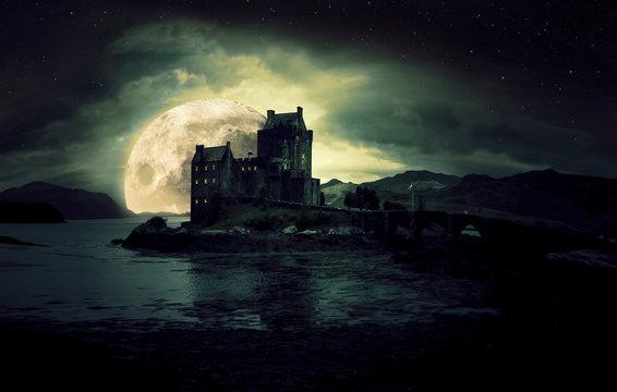 haunted mystic eerie Eilean Donan Castle in Scotland