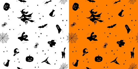 Set of seamless patterns with black objects isolated on white and orange background; Hand drawn doodles of bat, cat, spider, ghost, pumpkin and witch; Vector endless texture for Halloween, 31 October