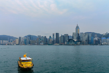 Large Skyline Panorama with Victoria Bay and Hongkong Island in the background, taken from Kowloon. Hong Kong, China, Asia