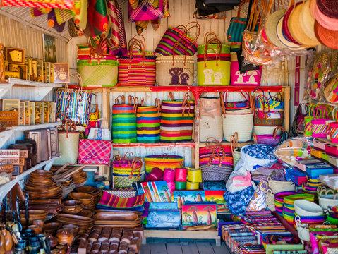 Colorful market stall with handmade souvenirs, Antananarivo, Madagascar