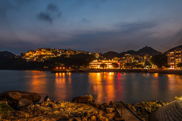 Romantic Panorama of Stanley Village, Bay and Harbour on Hongkong Island. Chek Chue, Hong Kong, China
