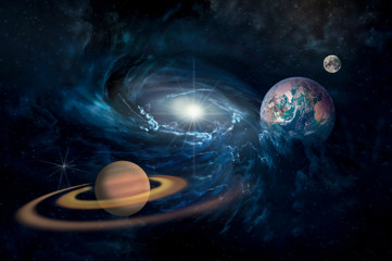 planets in the Solar system in the starry universe with copy space Elements of this image furnished by NASA