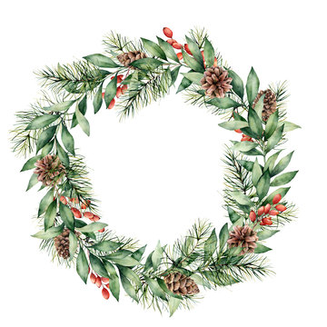 Watercolor Christmas wreath with berries, pine cones and tree branches. Hand painted fir border with eucalyptus leaves isolated on white background. Floral illustration for design, print, background.
