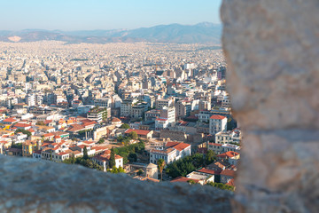 Buildings in the city of Athens in Greece in Europe.