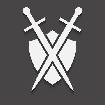 Shield and sword icon on a black background with shadow.