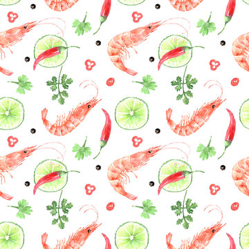 pattern of watercolor illustrations of seafood shrimp with herbs and spices, on a white background