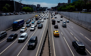 May 30, 2019, Moscow, Russia. Car traffic on the Third Ring Road in Moscow.