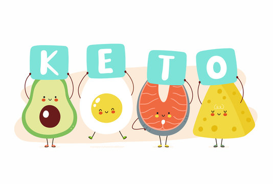 Cute happy avocado,egg,red fish and cheese hold keto sign. Isolated on white background. Vector cartoon character illustration card design,simple flat style. Keto diet card,banner design concept