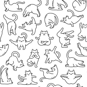 Cartoon Doodle Comic Outline Vector Seamless Pattern And Background  Of Zen Meditating Cats In Yoga Pose and Asana, Namaste