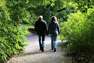 Senior couple in love walking in the park while holding hands, in back view